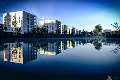 Luxury Apartment Complex (LeWelsch Photo) Tags: morning sunlight reflection water switzerland realestate apartment bern complex luxury waterreflection kniz liebefeld lte lewelsch liebefeldpark smoothreflection playmemoriescameraapps rx100m3 rx100iii weare500px