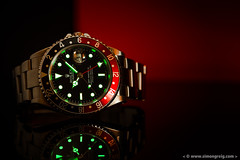 Coke Lume (Simon Greig Photo) Tags: red black macro closeup studio swiss watch coke timepiece rolex lume gmtmasterii