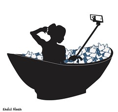 bath of Likes (khalid Albaih) Tags: khalid albaih cartoons khartoon freedom speech press political       facebook like social media bath woman naked refugees welcome isis is islamic belgam make america great again madonna iraq syria sudan yemen listen gob
