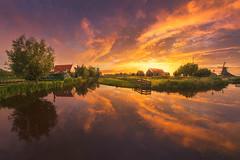 Dutch Summer (albert dros) Tags: travel houses sunset tourism nature netherlands dutch sunrise landscapes countryside nederland windmills zaanseschans zaandijk zaanstad skyporn albertdros