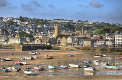 St Ives and the harbour, Cornwall (Baz Richardson) Tags: cornwall fishingboats stives smallboats medievalbuildings cornishharbours cornishtowns stiaschurchstives
