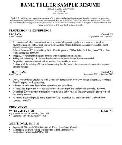 bank teller resume skills - Resume Skills For Bank Teller