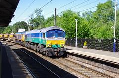 66711 & 66736 at Morpeth (stephen.lewins (1,000 000 UP !)) Tags: northumberland morpeth railways sheds sence class66 ecml wolverhamptonwanderers railfreight 66711 66736