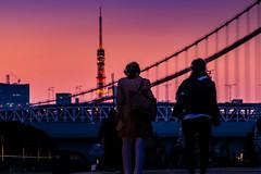 Going home (Masa_N) Tags: illumination eveningglow dusk springtime tower people cityscape city tokyotower japan evening tokyo rainbowbridge