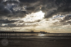 Stormy Skies Over Southport Pier (Ruthie H) Tags: sunset beach clouds pier seaside lancashire southport