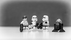 """Troopers #6 - The Haircut   """"Trooper 051071P, report to level 3, section 58 barbershop and get that mullet cut to Galactic Empire standard 622 instantly..."""" (ThisIsBigPhil) Tags: blackandwhite bw canon lens 50mm mono starwars noir dof lego noiretblanc bokeh mini troopers depthoffield figures blanc legostarwars legominifig 60d legominifigures legostormtroopers"""