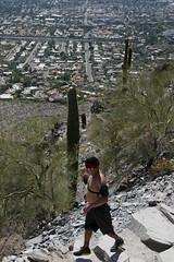 Hiker Piestewa Peak Park AZ (artistwhite) Tags: arizona cactus mountain phoenix hiking trail overlooking