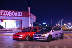 Seat Ibiza 6k & Opel Corsa C // Night Ride. (Vesargram) Tags: car night us seat c low gang style ibiza german tuner tuning jdm opel vauxhall corsa stance blinker 6k opc vxr corsac