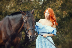 Girl and a horse (8956) (Dina Letova) Tags: red summer horse girl beauty animal photography photographer photosession        photographermoscow   photographerinmoscow