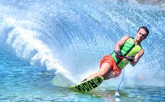 Waterski 1st attempt... (steve_steady64) Tags: lake waterski wawe
