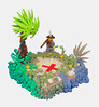 A lil' too obvious. ( read desc.) (JAlexanderHutchins) Tags: flowers red tree green sand rocks gun treasure lego buh x palm pirate