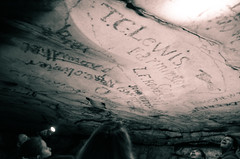 Old Timey Graffiti (_Codename_) Tags: graffiti blackwhite nationalpark kentucky tourists flashlight mammothcave cave splittoning tclewis