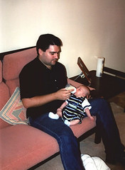 09. Brad & Cameron at dinner time - March 2002