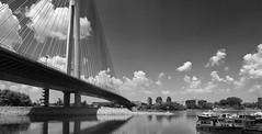 Ada Bridge - The Pilar and The Boats (Nikola Vukievi) Tags: bridge green river ada nikon bridges most rivers belgrade beograd sava 18105 reka reke d90 mostovi 18105mm adabridge mostnaadi