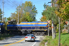 M420TR at a level crossing (Michael Berry Railfan) Tags: quebec easterntownships mlw mma m420tr orfordexpress montrealmaineatlanticrailway oex26