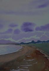 West Mersea (amanda.parker377) Tags: sea landscape purple essex beachhuts mersea cotman watercolourpainting
