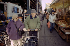 Handcart (dtanist) Tags: street new york city nyc newyorkcity newyork film shop brooklyn analog shopping minolta market kodak 28mm mc 101 200 grocery groceries handcart shoppers kmart shopper bensonhurst srt 86th focal colorplus