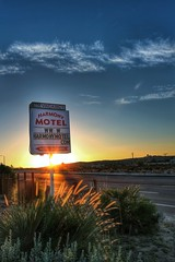 the harmony motel at sunset in 29 palms, california (vrot01) Tags: california sunset sign canon u2 desert mojave signage wife harmonymotel joshuatreenationalpark eosm snapseed uploaded:by=flickrmobile flickriosapp:filter=nofilter 22f20 29pines