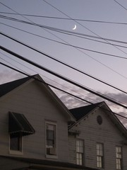 Cat's Cradle (Zombie37) Tags: street houses moon lines vertical night quiet dusk baltimore crescent neighborhood roofs wires catscradle caught hampden between