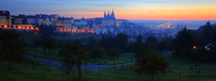 ? !  ~Twilight & Dawn of Czech Prague ,  gazing from Strahovsk klter~ (PS~~) Tags: road street travel bridge trees light sunset shadow sky reflection tower castle church water night clouds canon river lights boat vineyard europe ship nocturnal czech prague hill prag praha tschechien most czechrepublic rays nightview bluehour charlesbridge philipp vltava magichour hradcany pinkclouds ceskarepublika karluvmost karluv blauestunde  moldau malastrana petn klinger  ceska karlsbrcke strahovmonastery kleinseite monasteriodestrahov  rosyclouds   strahovsk klter dcdead  goldenpraha  nightexposure