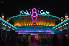 Flo's Cafe (daviddinwiddie) Tags: california light cars night 35mm vintage nikon hand disneyland low diner disney adventure land handheld rockabilly 28 held f18 18 35 v8 118 d7100 carsland