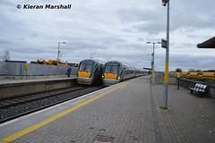 22011 passes 22028 at Portarlington, 5/3/14 (hurricanemk1c) Tags: irish train rail railway trains railways irishrail rok rotem 2014 portarlington icr iarnród 22000 22011 22028 éireann iarnródéireann 4pce 1600heustoncork