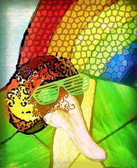 Searching for Treasure Over the Rainbow (garlandcannon) Tags: sunglasses rainbow mask path stainedglass brightcolors multicolored odc longnosedmask