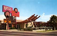 Sun Dancer Hotel Phoenix AZ (Edge and corner wear) Tags: street arizona phoenix sign vintage pc neon hand postcard letters az chrome font theme lettering van viking job aaa buren