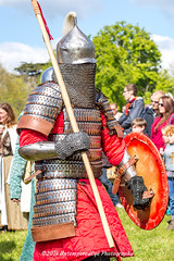 [2014-04-19@14.54.34a] (Untempered Photography) Tags: history costume helmet medieval weapon shield procession reenactment combatant spear canonef50mmf14 perioddress polearm gambeson poleweapon untemperedeye canoneos5dmkiii untemperedeyephotography glastonburymedievalfayre2014