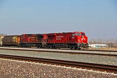 Double the Canadians.. (Machme92) Tags: railroad sky santafe grain tracks rail canadian cannon rails co cp ge railfan railroads railfanning railfans