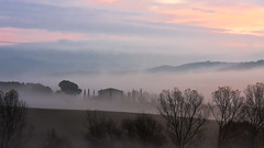 Tuscan Sunrise (alliance1) Tags: italy color fog sunrise canon tuscany whynot 2009 24105mm 40d 16x9crop patrickstuscany