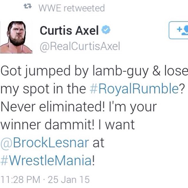 Curtis Axel should be the winner of the Royal Rumble. That was lately what trending on Tumblr !  Anyway hes a hero and a true winner 💕 PC ( cmxpunk )  On Tumbkr  #wwe #royalrumble #curtisaxel