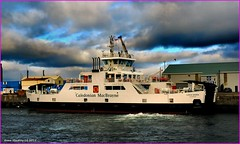 Scotland Greenock the ship repair dock car ferry Loch Shira with her aft port side thrusters being tested before a sea trial 9 February 2015 by Anne MacKay (Anne MacKay images of interest & wonder) Tags: car by ferry anne scotland greenock dock ship shira picture 9 repair mackay loch february 2015