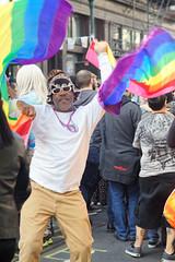 Celebrate (Stephen Hennessey) Tags: gay usa man black philadelphia america happy us dance rainbow october dancing pennsylvania flag flags celebration pa american jubilant lgbt philly queer celebrate outfest 2014 gayborhood