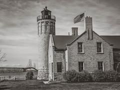 Mackinaw City Lighthouse & The Mighty Mac (SPP - Photography) Tags: bridge lighthouse michigan lakemichigan greatlakes lakehuron mackinaw uppermichigan mackinawbridge northernmichigan mackinawcity mightymac puremichigan