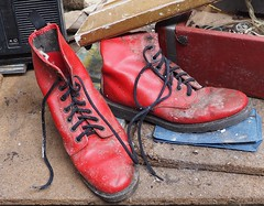 Red Boots (Hammerhead27) Tags: wood old red abandoned leather trash neglect garbage junk shoes boots lace decay used forgotten dust discarded mould urbex