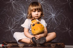 Eimi and giraffe (salas-3) Tags: inside indoor picture photo photography toy giraffe nikon background portrait child girl