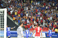 GEYLANG-SINGAPORE-13JUN,2015:Unidentified fans of Thailand supporters during match between Thailand against indonesia,28th SEAgames 2015 at national stadium singapore on june13-2015 (leykladay) Tags: world seagames portrait people man motion sport club ball indonesia thailand person moving football goal movement fighter play action kick stadium fifa soccer group competition player line thai editorial match fans league cheering champions supporters active tpl