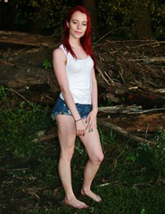 Portrait in the Dark (PhotoAmateur1) Tags: pink blue autumn sunset red portrait woman white black hot sexy green fall feet halloween beautiful beauty face crimson grass shirt female night contrast forest wonderful scarlet dark hair neck skinny outside evening photo outfit model eyes woods colorful toes long pretty shoot tank arms legs head vampire top feminine gorgeous chest femme butt young lips dracula september redhead jeans barefoot attractive denim session shorts shoulders lovely thin cleavage distress throat petite slender daisydukes damsel