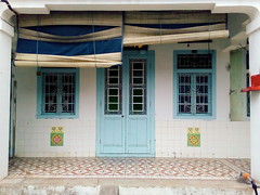 the shades of blue (grassybrownie) Tags: door old trip travel blue houses house color window colors architecture vintage asian design singapore colorful asia exterior designer interior chinese decoration style retro wanderlust architect malaysia lantern penang decor nofilter