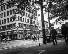 Vintage Portland (TMimages PDX) Tags: road street city people urban blackandwhite monochrome buildings portland geotagged photography photo image streetphotography streetscene sidewalk photograph pedestrians pacificnorthwest avenue vignette fineartphotography iphoneography