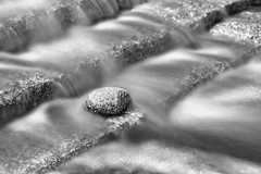 Flow II (mclcbooks) Tags: longexposure blackandwhite monochrome rock stone stairs waterfall colorado steps le waterfeature denverbotanicgardens