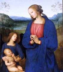 IMG_0666 Pietro Perugino. 1459-1523. Florence. The Virgin and Child with an Angel, the Archangel Raphael with Tobias and the Archangel Michael. vers 1500.   Londres National Gallery. (jean louis mazieres) Tags: london museum painting unitedkingdom muse nationalgallery londres museo peintures peintres perugino leperugin pietrovanucci