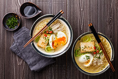 shutterstock_289860068 (AroundYou Featured Listing) Tags: food japanese miso tofu egg ramen chopsticks enoki