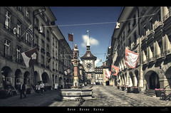 Zytglogge (VandenBerge Photography) Tags: medieval historical unescoworldheritage zytglogge bern switzerland schweiz sky city cityscape retro street lonelyplanet canon efs1018mmf4556isstm hdr fountain vintage