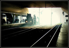 Early morning arrival at Krakow (mike.read44) Tags: shadow sunlight station engine poland krakow steam locomotive