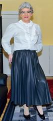 Ingrid022136 (ingrid_bach61) Tags: leather skirt blouse mature faux pleated ruffled kunstleder faltenrock rschenbluse