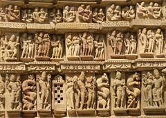 Wall of statues (bokage) Tags: india statue temple khajuraho madhyapradesh bokage