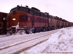 Milwaukee Road EMD F7 ABAAB Winter 1971 (Twin Ports Rail History) Tags: milwaukee road emd f7 covered wagon twin ports rail history by jeff lemke 1971 snow winter time machine