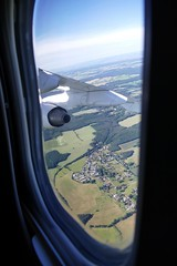Swiss Jumbolino approaching Dresden Airport Germany Deutschland (roli_b) Tags: swiss jumbolino bae avro rj100 approach approaching landing landung drs dresden airport germany deutschland landeanflug fensterplatz window seat aerial view vista